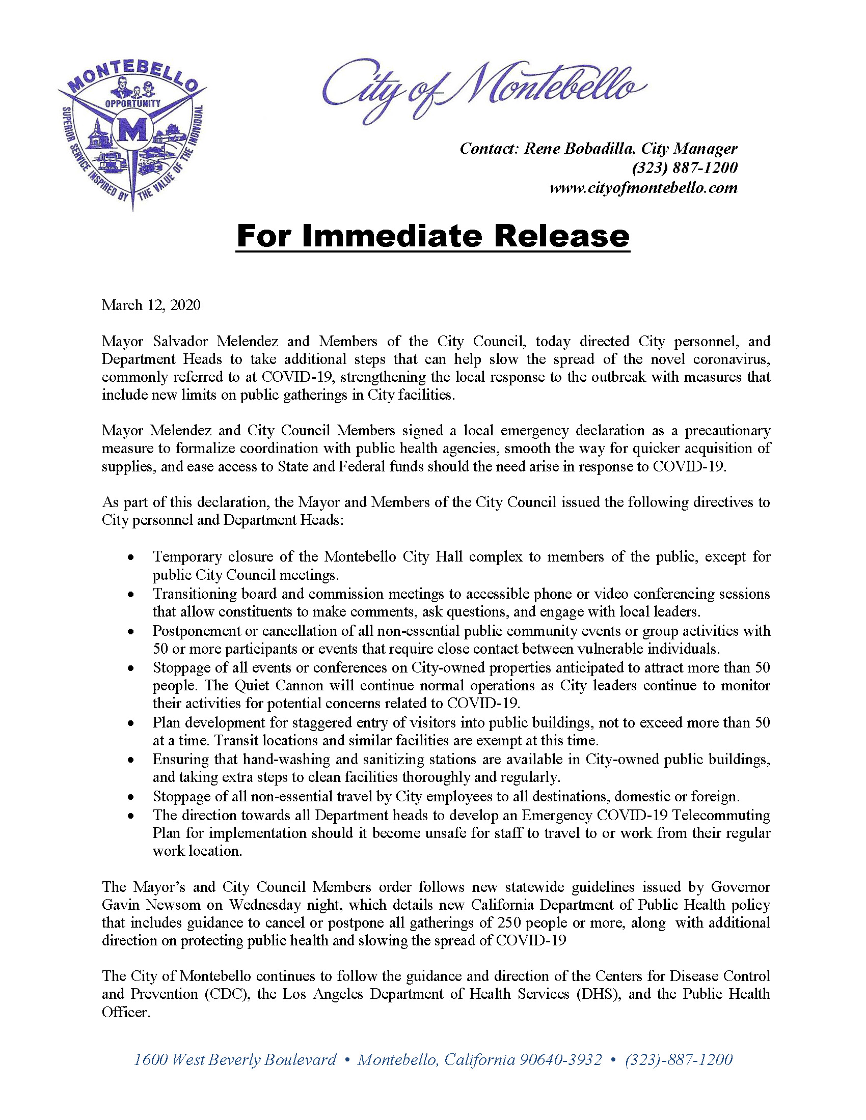 City of Montebello Media Release COVID 19 March 12 2020
